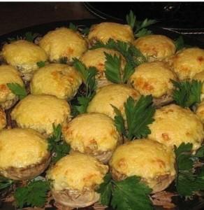 Рецепт запеченных шампиньонов с сыром